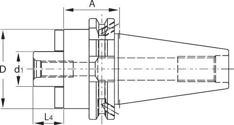 Оправка для насадной фрезы Форма ADB с каналом для подвода СОЖ SK 40 средний