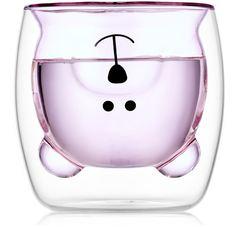 """Стакан с двойными стенками цветной в форме медведя """"Мишка, розовый 250 мл"""