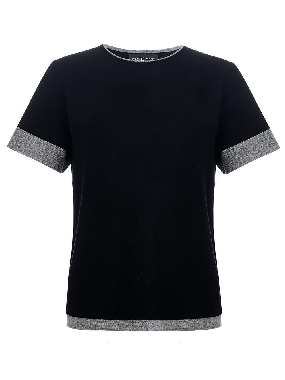 Женская футболка черного цвета из вискозы - фото 1