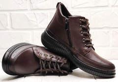 Женские кожаные кеды ботинки демисезонные Evromoda 535-2010 S.A. Dark Brown.