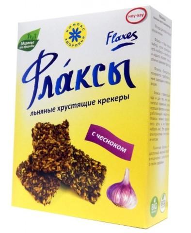 Флаксы льняные крекеры с чесноком, 150 гр. (Компас Здоровья)