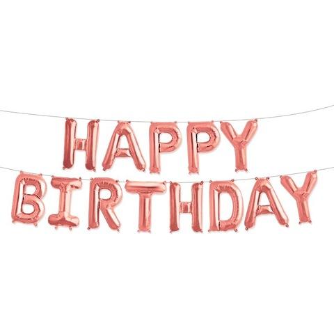 Растяжка из шаров: Буквы из фольги - С днем Рождения, Happy Birthday, розовое золото