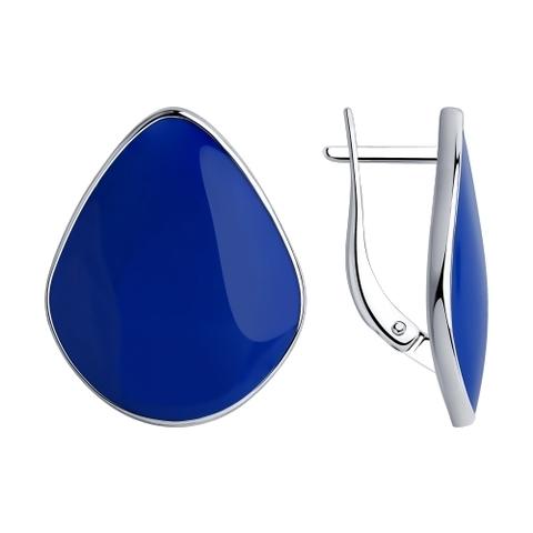94024062 - Серьги из серебра с синей эмалью