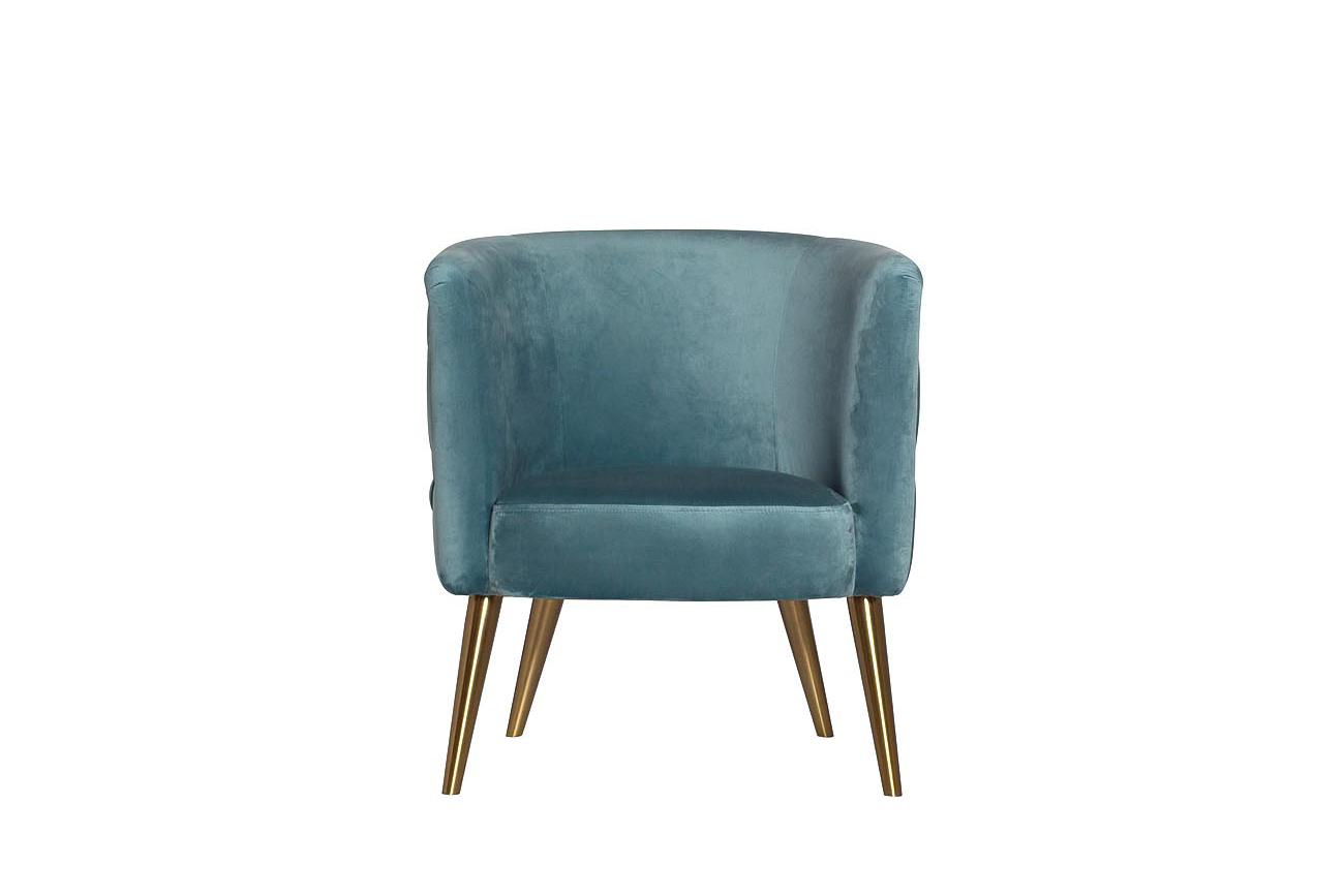 Кресло велюровое бирюзовое на металлических ножках (48MY-2533 TUR GLD) Garda Decor