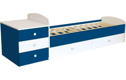 Кровать детская Фея 1400 белый-синий