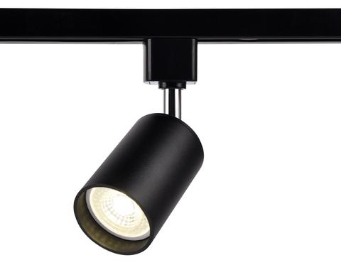 Трековый однофазный светильник со сменной лампой GL5123 BK черный GU10 max 12W