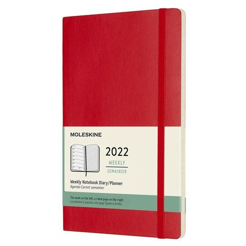 Еженедельник Moleskine (DSF212WN3) Classic Soft WKNT Large 130х210мм 144стр. мягкая обложка красный