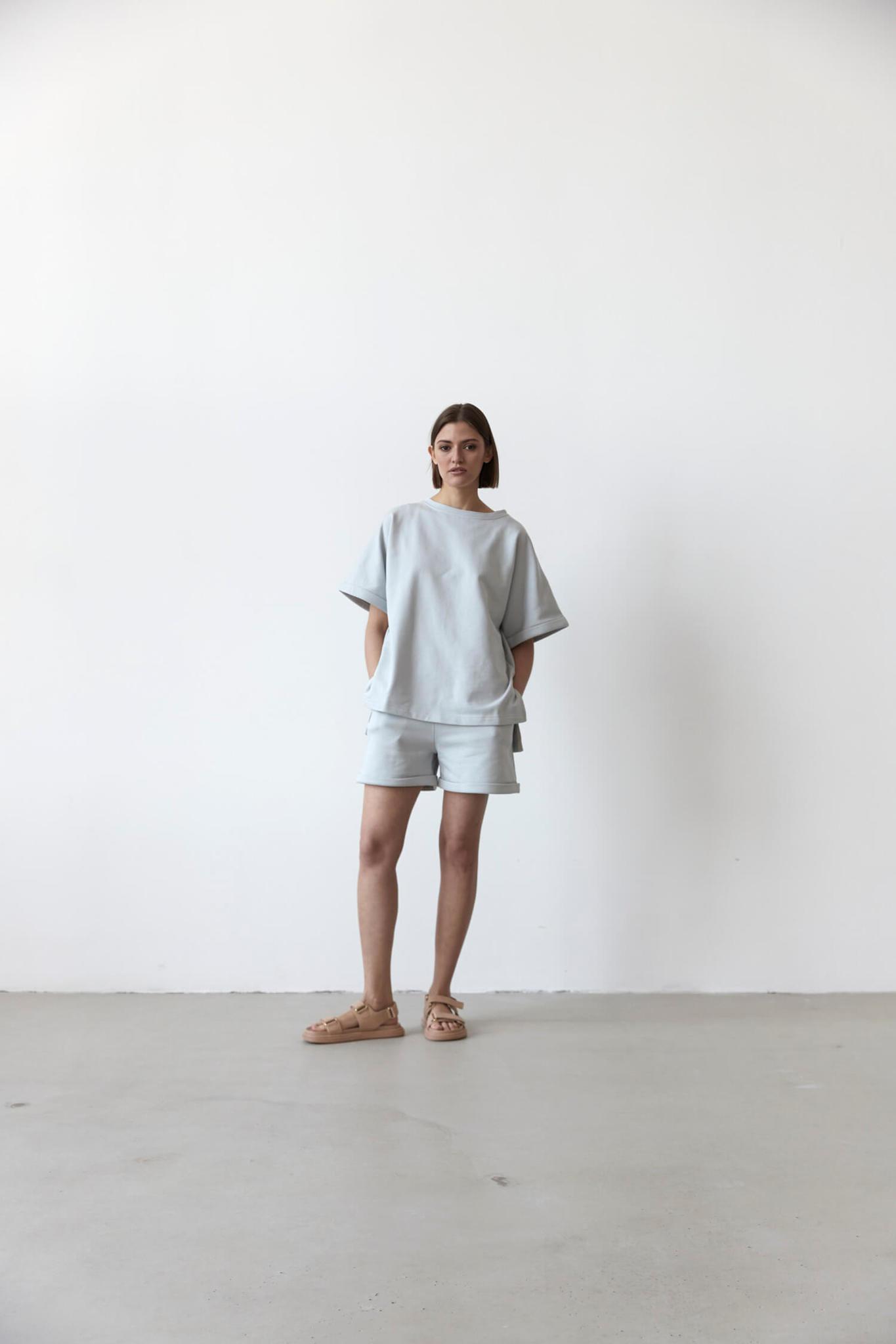 Свитшот-футболка из футера, жемчужно-серый