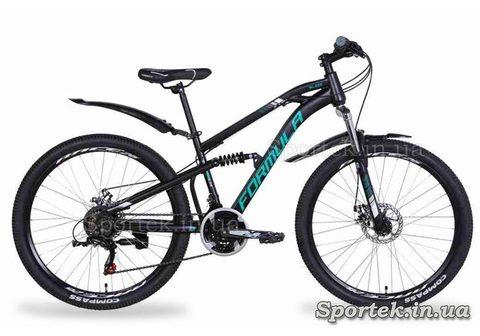 Черно-зеленый горный универсальный велосипед Formula Blaze