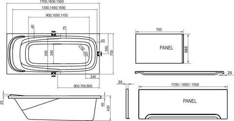 Ванна акриловая Ravak Vanda II 170X70 CP21000000 схема