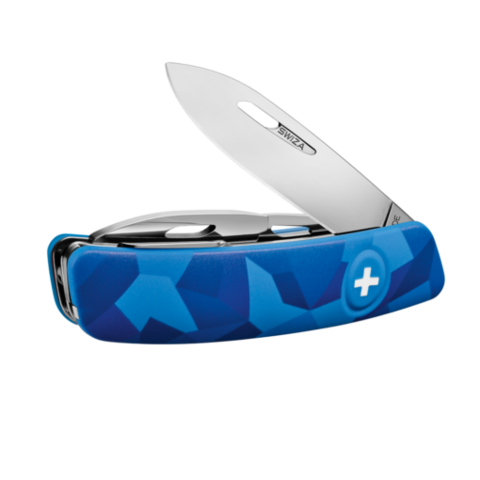 Швейцарский нож SWIZA C03 Camouflage, 95 мм, 11 функций, синий