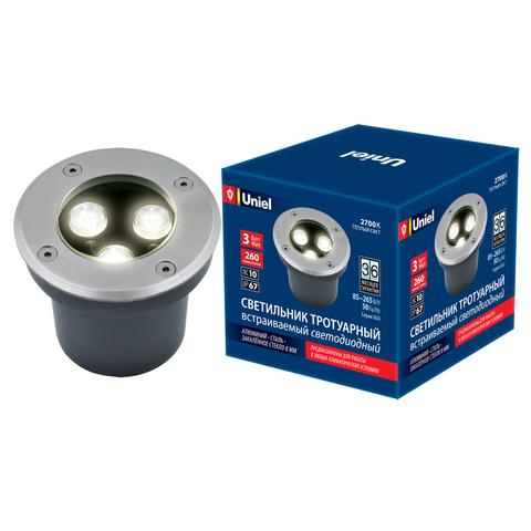 ULU-B10A-3W/2700K IP67 GREY Светильник светодиодный уличный. Архитектурный встраиваемый. Теплый белый свет (2700К). Корпус серый. TM Uniel.