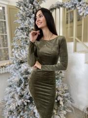Сати. Облегающее, изысканное велюровое платье. Оливка
