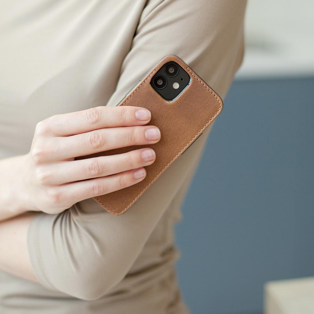 Чехол-накладка для iPhone 12 Mini из натуральной кожи теленка, цвета винтаж