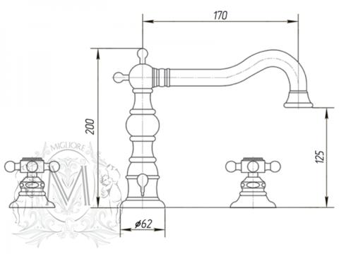 Смеситель для раковины на 3 отверстия Migliore Arcadia ML.ARC-8312 CR