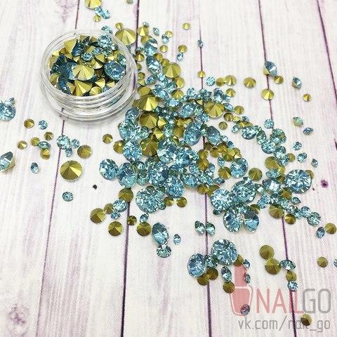 Стразы Opal Blue MiX конусные
