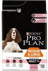 Сухой корм, Purina Pro Plan Dog, для взрослых собак старше 7 лет средних и крупных пород с чувствительной кожей, с лососем и рисом