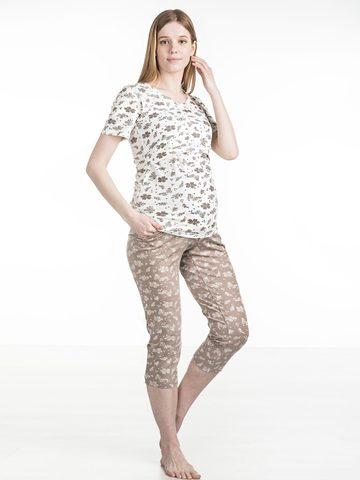 Euromama/Евромама. Пижама для беременных и кормящих футболка и капри, капучино