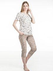 Euromama/Евромама. Пижама для беременных и кормящих футболка и капри, капучино вид 1