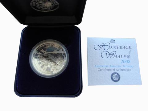 1 доллар 2008 год. Горбатый кит. Австралийские антарктические территории. Австралия. Серебро