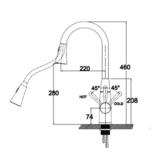 Смеситель KAISER Merkur 26144 для кухни с вытяжной лейкой схема