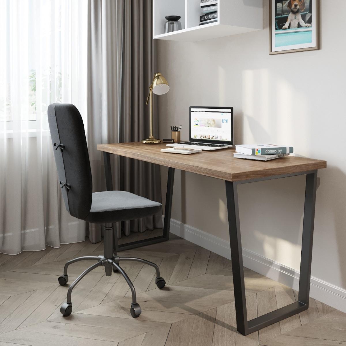 Письменный стол ДОМУС СП013 орех темный/металл черный