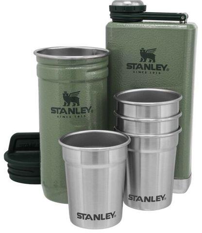 Набор подарочный Stanley Adventure (фляга 0,23 л+стопки 4 шт по 59 мл+футляр), темно-зеленый