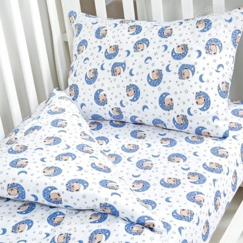 Детское постельное бельё Мишка на луне ТРИКОТАЖ