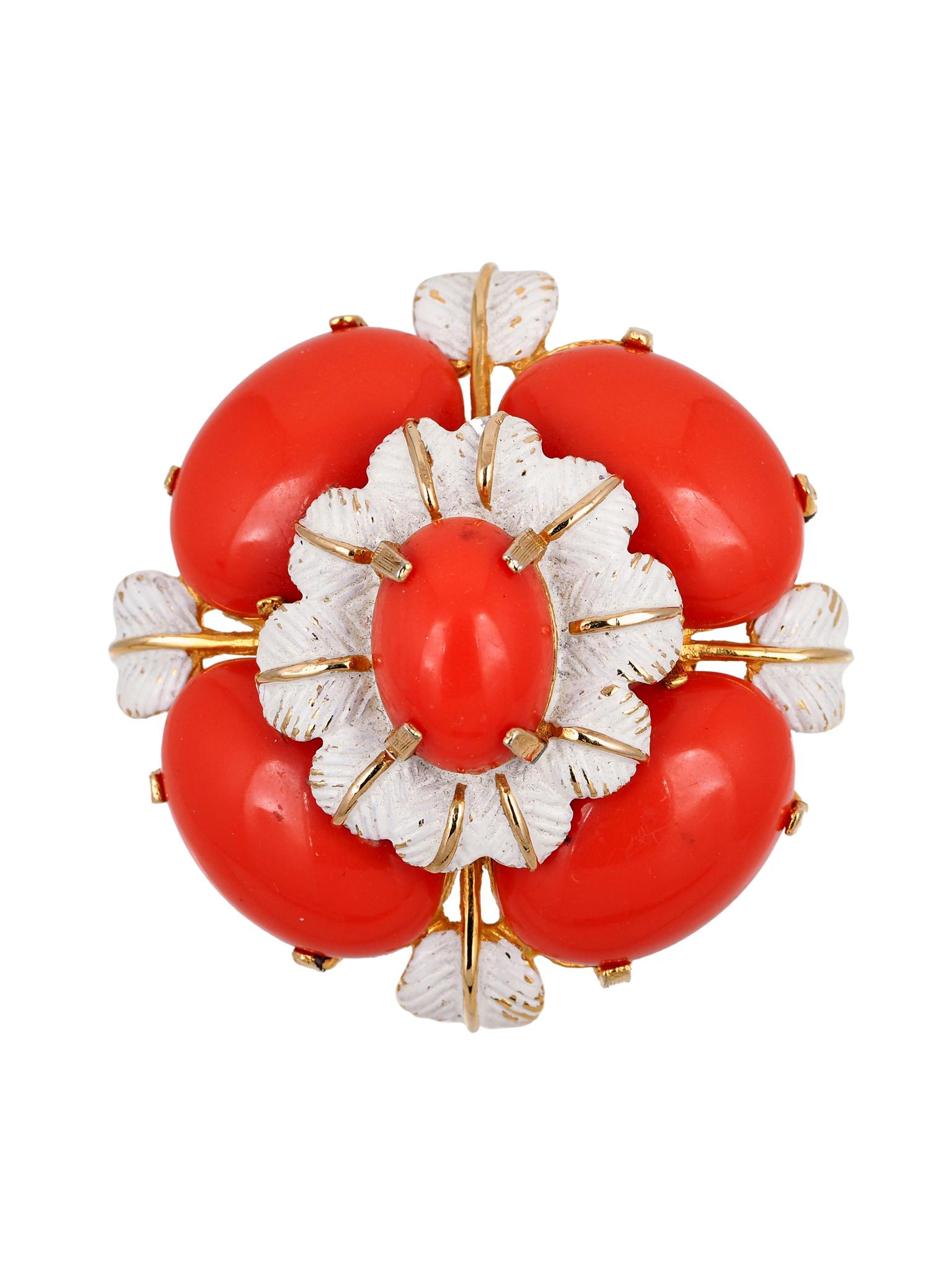 Крупная брошь в виде цветка Cadoro 1970-е
