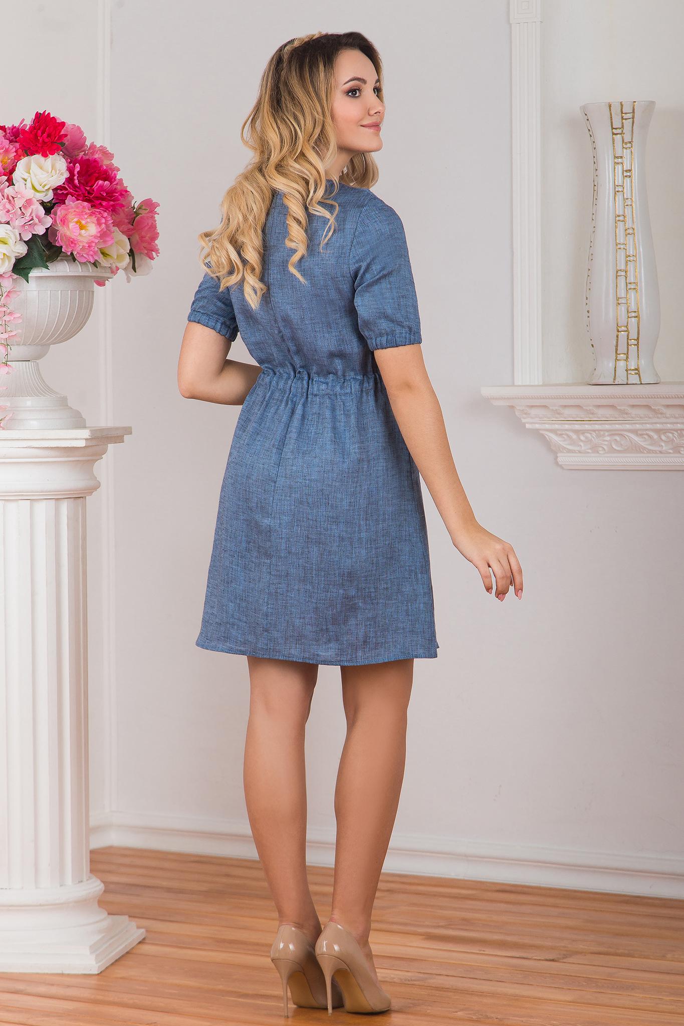 Вид сзади Платье льняное Синий меланж