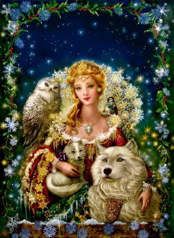 Алмазная Мозаика 20x30 Дама с животными
