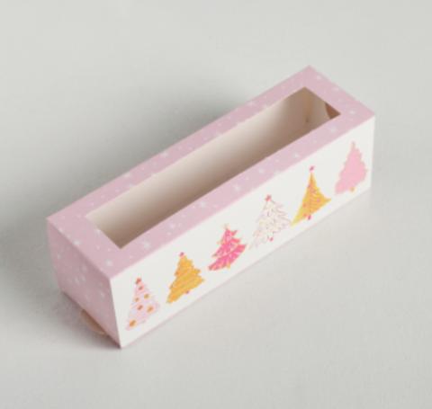 Коробочка для макарун «Ёлочки»,18*5.5*5,5 см