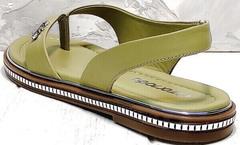 Женские кожаные шлепанцы босоножки без пятки Evromoda 454-411 Olive.
