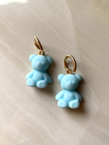 Серьги Тедди, голубые