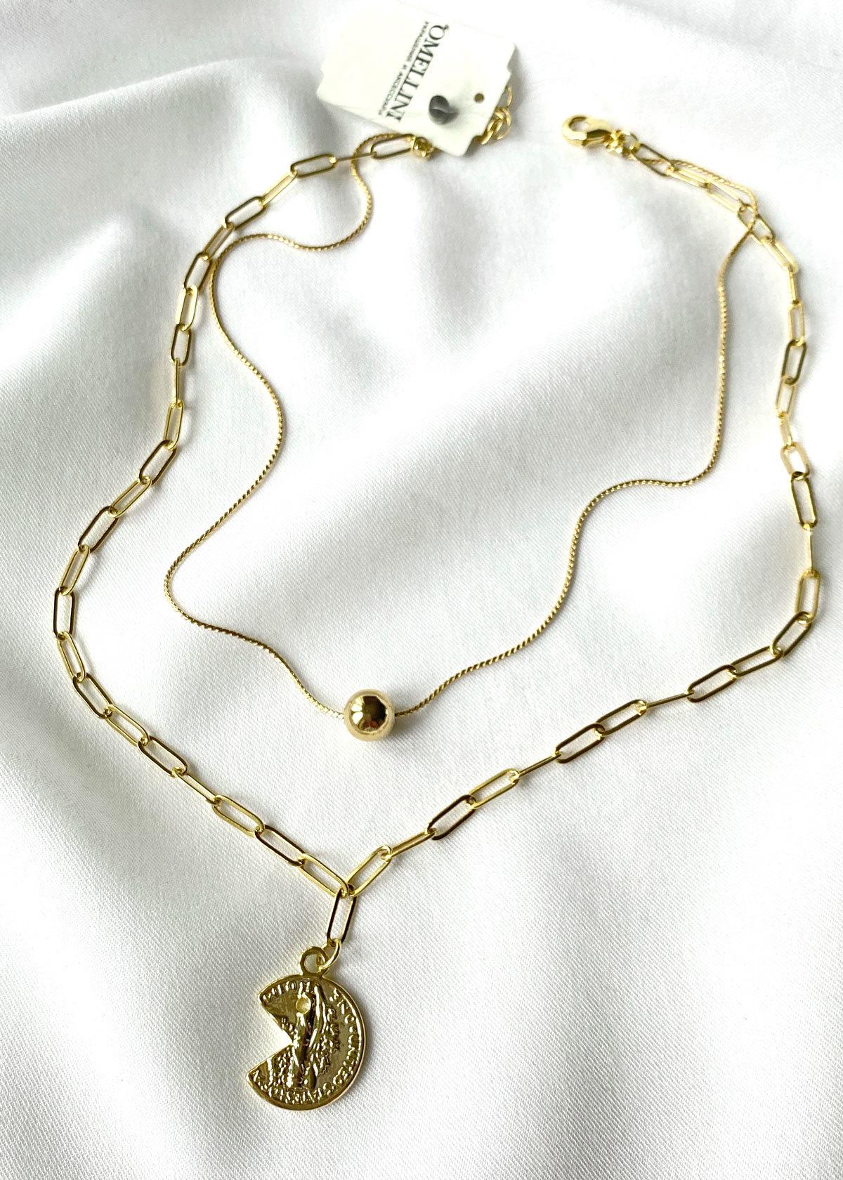 Двойная цепь с бусиной и монеткой (золотистый)