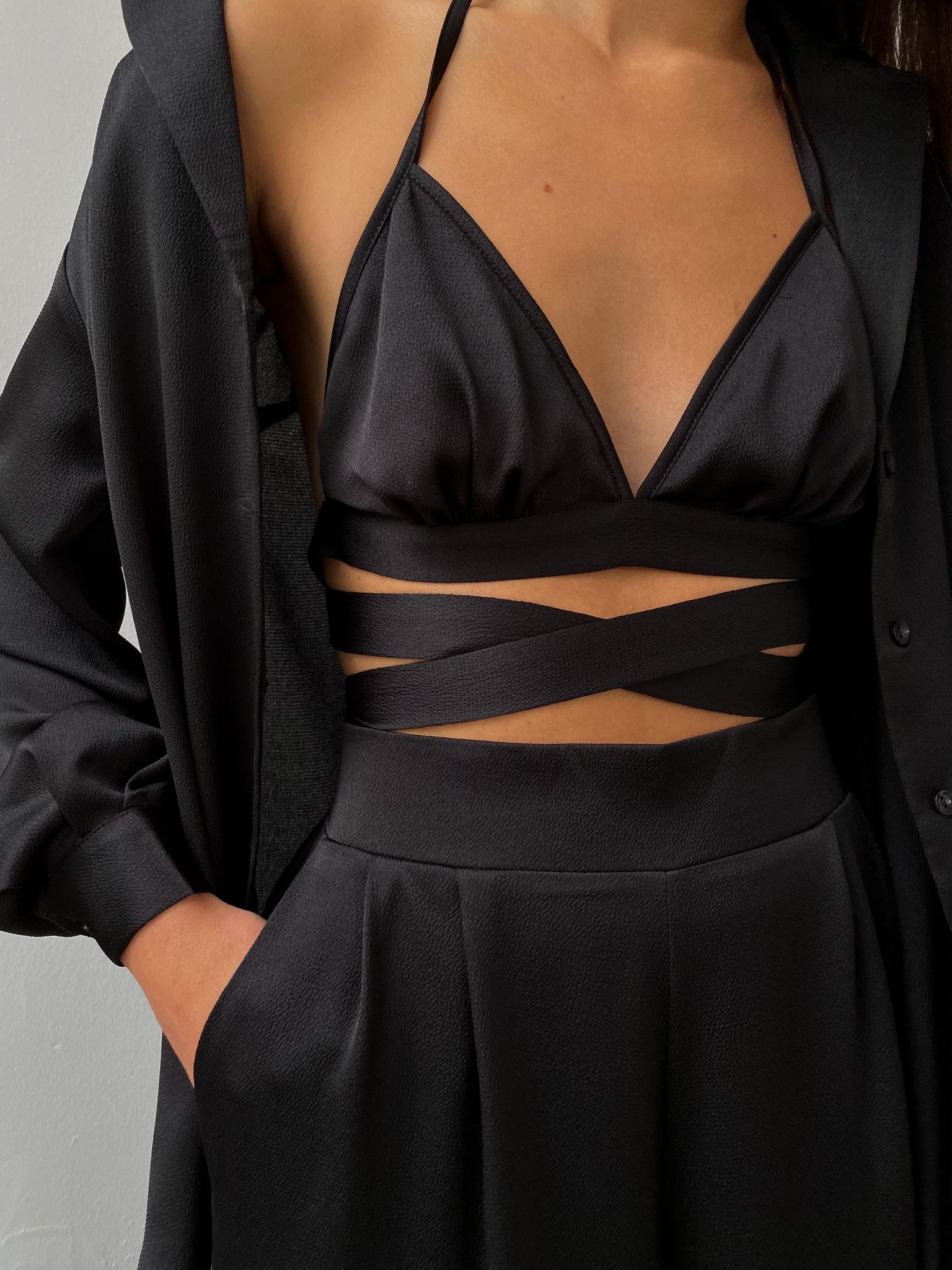 Костюм пижамный тройка  (рубашка, брюки и топ) (черный)