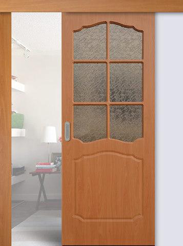Дверь раздвижная Сибирь Профиль Классика, цвет миланский орех, остекленная