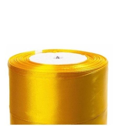 Лента атласная (размер:40мм х 25 ярдов) Цвет:темно-желтый