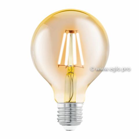 Лампа LED филаментная из стекла янтарного цвета Eglo AMBER LM-LED-E27 4W 320Lm 2200K G80 11556
