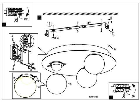 Светильник настенно-потолочный влагозащищенный Eglo MOSIANO 94629 4