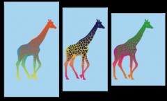 """Модульная картина """"Разноцветные жирафы"""""""