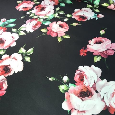 Ткань хлопок сатин с эластаном розы на  черном 2076
