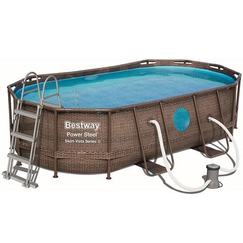 Каркасный бассейн Bestway Ротанг 56714 (427х250х100 см) с картриджным фильтром, лестницей и защитным тентом / 20837