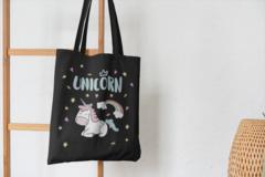 Сумка-шоппер с принтом Единорог (Unicorn) черная 007