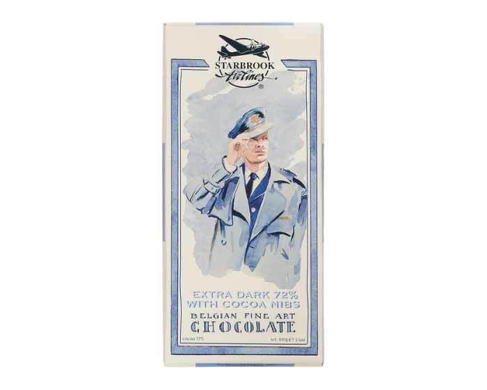 Горький шоколад Starbrook Airlines с кусочками какао 72%, 100 г