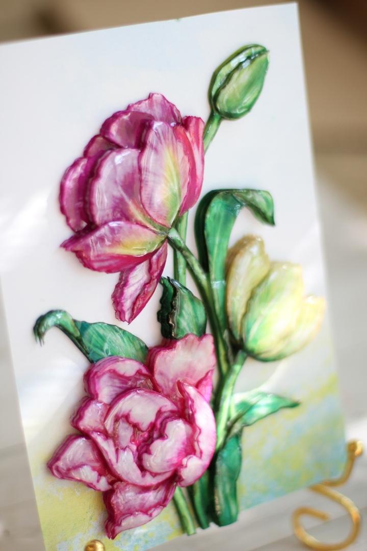 Весенние тюльпаны, покрыты эпоклидной смолой Artline