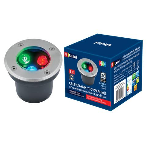 ULU-B10A-3W/RGB IP67 GREY Светильник светодиодный уличный. Архитектурный встраиваемый. RGB свет. Корпус серый. TM Uniel.