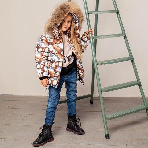 Дитяча зимова куртка з авторським принтом «Ведмедики»