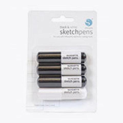 Комплект фломастеров Silhouette Sketch Pens by Silhouette America -3 Black & 1 White