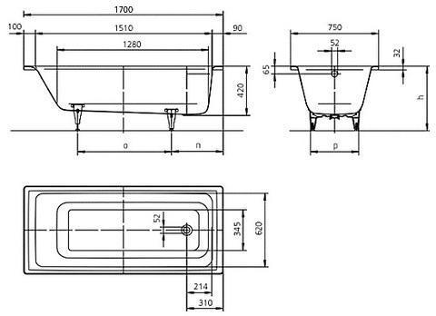 Ванна стальная Kaldewei Puro 652,  170х75см. +easy-clean схема